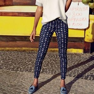 J CREW Minnie Navy Foulard Print Ankle Pants 2
